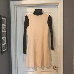 Long sleeve black and cream dress